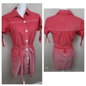 Lee Cooper Red Ombre Gingham Mini Dress XL